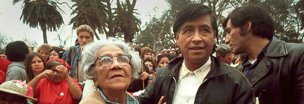 Cesar Chavez and his mother, Juana Estrada, appear at a rally in Modesto, Calif., in 1973.  Bob Fitch Photography Archive, Stanford Libraries