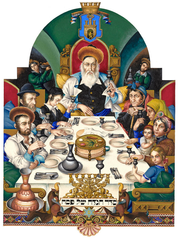 "The Family at the Seder.  ""Seder"" means ""order,"" or ""sequence."" The family awaits the recitation of the Haggadah and the serving of the festive meal. Photo credit:  The Szyk Haggadah - Gallery of Images."