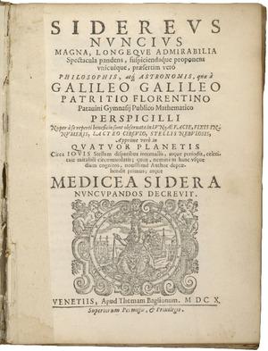 Sidereus nuncius, 1610