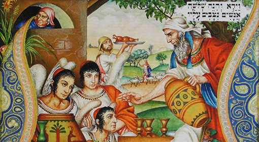 The Bread of Affliction (detail). Matzah is the unleavened bread that is eaten at the seder and throughout the Passover holiday. Szyk's characteristically ornate style in lettering and design are featured here. Photo credit:  The Szyk Haggadah - Gallery of Images.