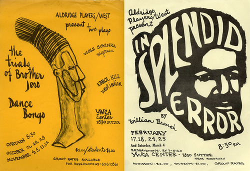 Posters for productions, ca. 1964-1968, performed by the Aldridge Players West group, of which Mr. Miller was a founder member. Courtesy Stanford Libraries Special Collections.