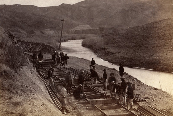 """Curving Iron, Ten Mile Canyon."" Courtesy of Alfred A. Hart Photograph Collection via the Chinese Railroad Workers in North America Project at Stanford University."