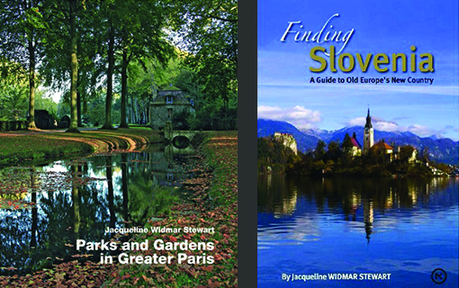 Parks & Gardens cover photo by Jacqueline Widmar Stewart; Finding Slovenia cover photo by publisher Mladinska knjiga