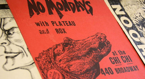 Posters in Stanford's collection of punk rock art, housed in Green Library, reflect the Bay Area's musical and cultural history of the 1970s and '80s. (Photo: Veronica Marian)